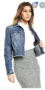 Guess cropped denim jean distressed frayed jacket